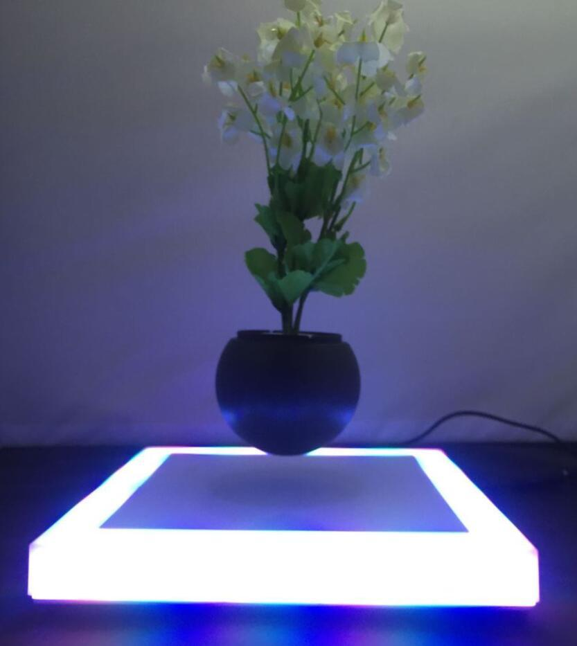 square base led light magnetic floating levitate plant potted  2
