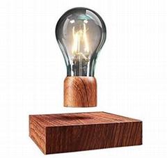 360 turning wooden base magnetic floating wireless led bulb lamp