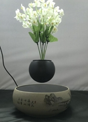 flower ceramic base  magnetic floating levitate bottom air bonsai pot