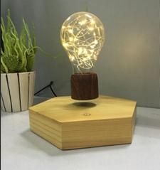 new 360 rotating  wooden base magnetic floating levitate bottom led bulb lamp