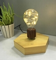 new 360 rotating  wooden base magnetic floating levitating  led bulb lamp light