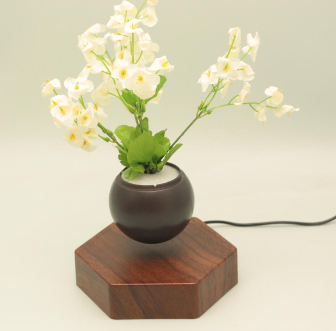 rotating hexagon magnetic floating levitation  air bonsai pot planter for gift  7