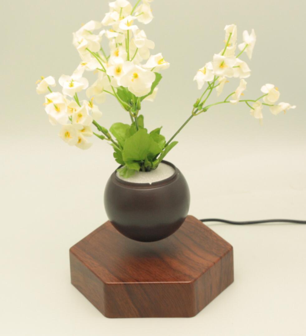 rotating hexagon magnetic floating levitation  air bonsai pot planter for gift  8