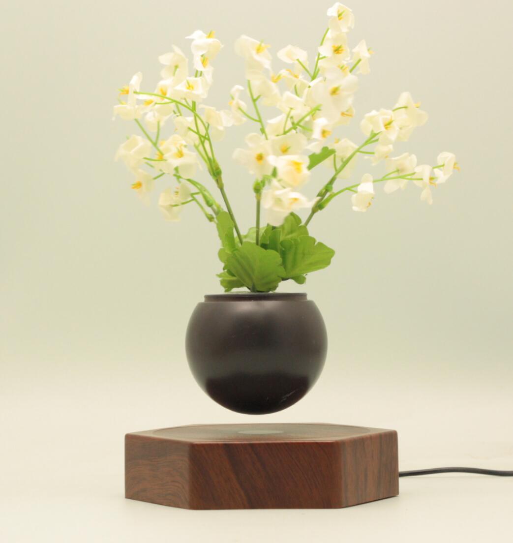 rotating hexagon magnetic floating levitation  air bonsai pot planter for gift  2
