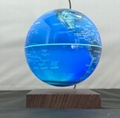 wooden base roating magnetic floating levitate globe with color change