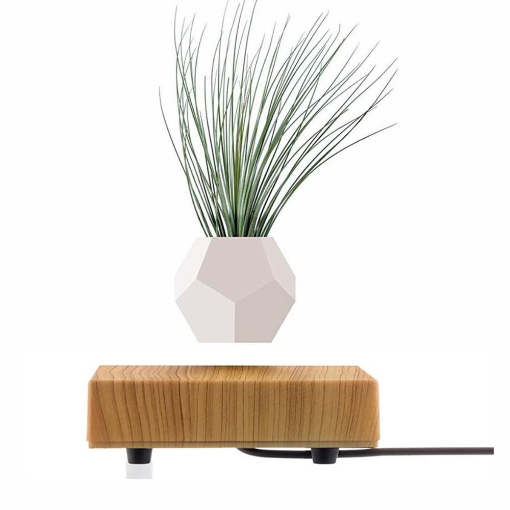 wooden flyte  magnetic levitating pot  air bonsai pot planter  1