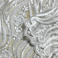 Factory direct white wedding decoration and textured wedding dress fabric