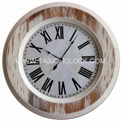 Antique rustic round wooden frame wall clock