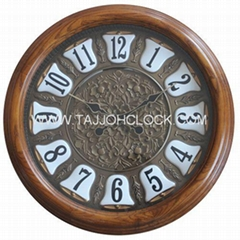 High Quality home decor round wooden frame wall clock