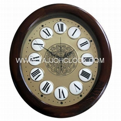 High quality oval home decor wooden frame wall clock