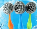 Stainless Steel Scourer with Handle Stainless Steel Pot Scrubber