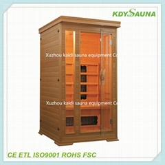Far wooded infrared sauna room