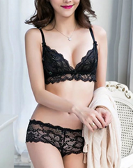 sexy  thin cup lace bra set