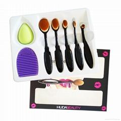 香水百合5支牙刷化妆刷洗刷器粉扑套装