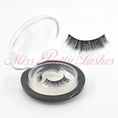 Mink eyelashes Round plastic boxes logo designs