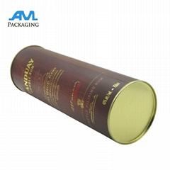 Aluminum Lid Packing Box Wine Tube Packaging Cardboard Cylinder Tin Box