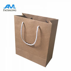 Custom Craft Brown Shopping Paper Bag Printed Logo Gift Kraft Paper Bag