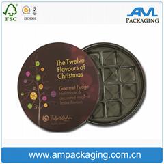 Round Chocolate Box with Plastic Insert Tray