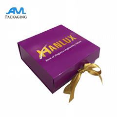Custom Full Printed Cardboard Packaging Gold Ribbon Closure Jewelry Folding Box