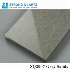 Grey artificial quartz stone slabs for kitchen vanity top