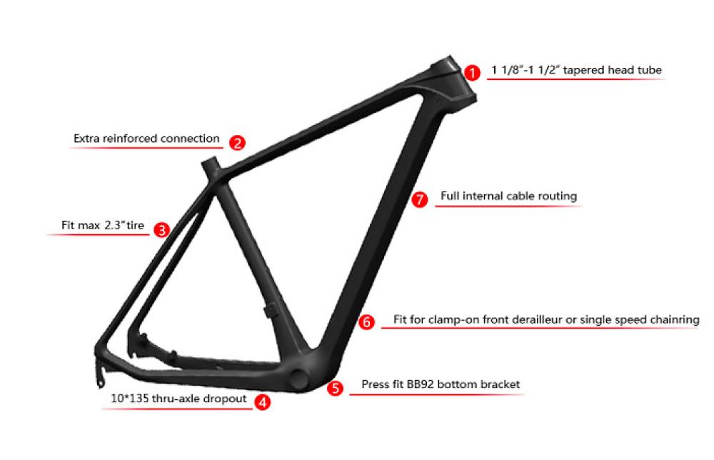 Toray carbon fiber Hardtail 29er MTB FRAME QTOUR Carbon Bike Frame 3
