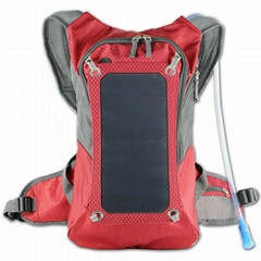 Red Portable Solar Backp