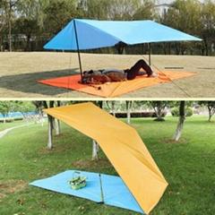 Camping Awning Canopy Sunshade Tarp Rain Shelter Cover Beach Picnic Tent Mat Pad