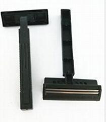 Twin blades disposable razors.