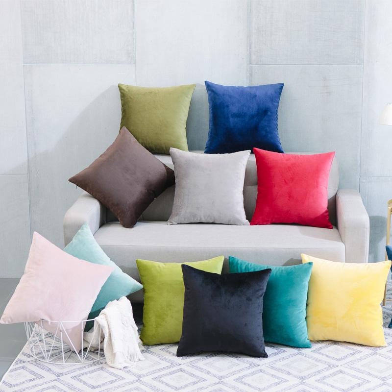 简约现代毛绒纯色抱枕车里办公室腰枕沙发床上大靠背靠枕含芯定制 1
