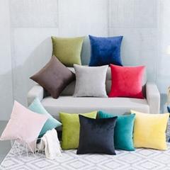 簡約現代毛絨純色抱枕車里辦公室腰枕沙發床上大靠背靠枕含芯定製