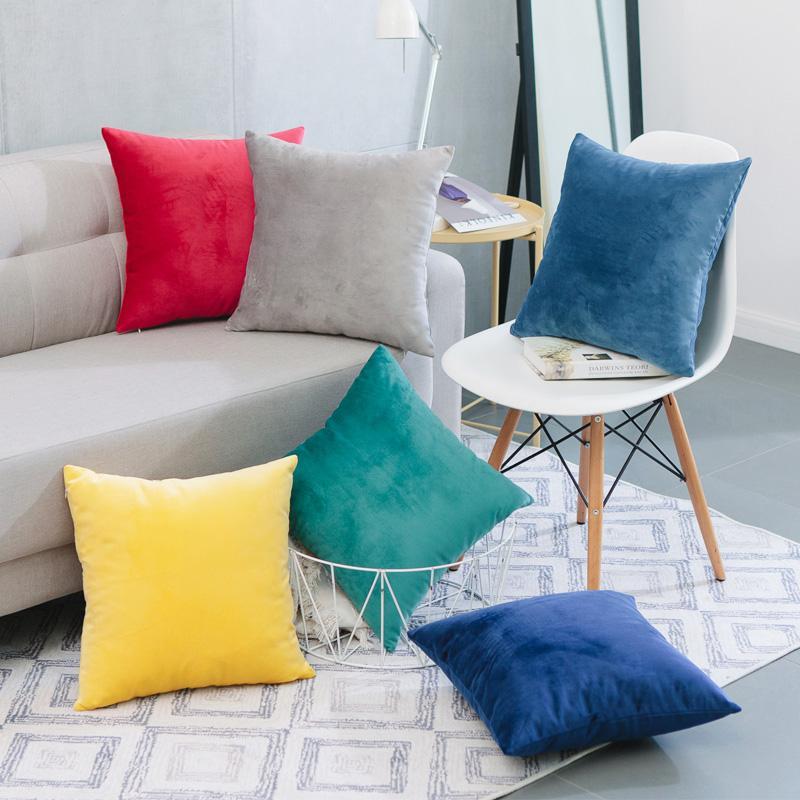 簡約現代毛絨純色抱枕車里辦公室腰枕沙發床上大靠背靠枕含芯定製 2
