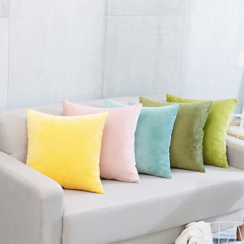簡約現代毛絨純色抱枕車里辦公室腰枕沙發床上大靠背靠枕含芯定製 3