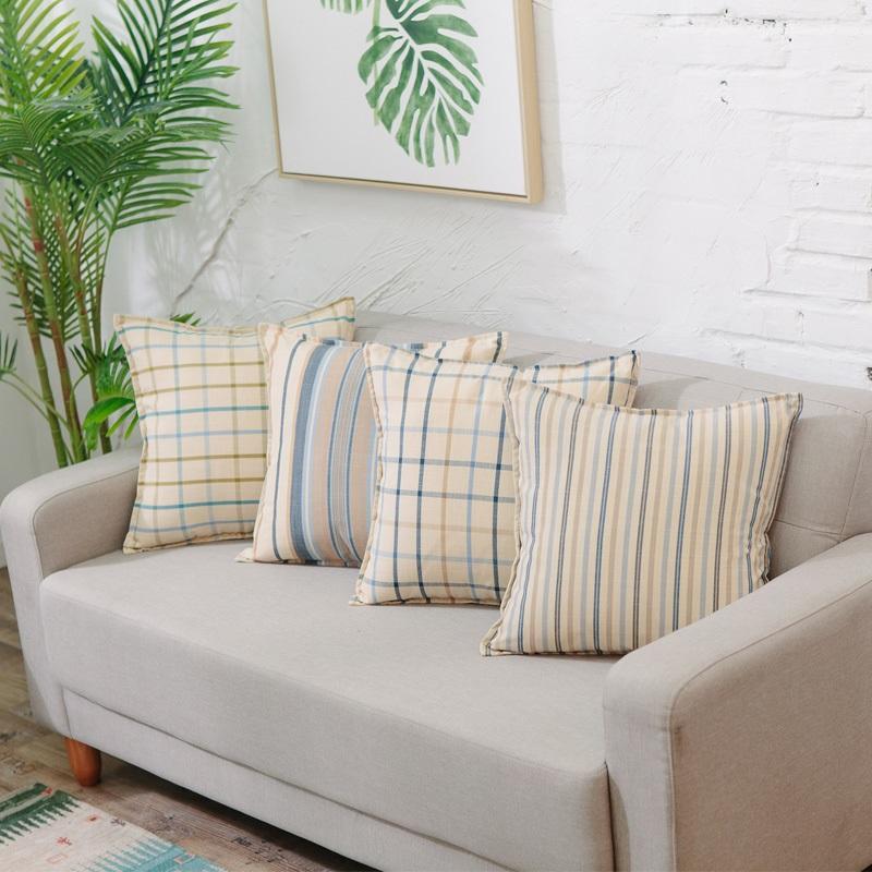 特價地中海清新抱枕棉麻加厚格子靠枕沙發靠墊汽車腰枕抱枕套含芯 2