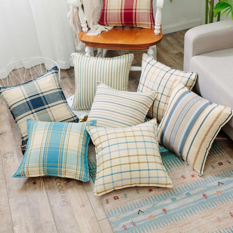 特價地中海清新抱枕棉麻加厚格子靠枕沙發靠墊汽車腰枕抱枕套含芯 3