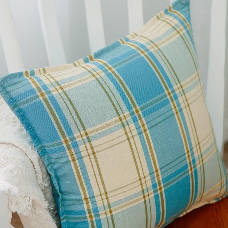 特价地中海清新抱枕棉麻加厚格子靠枕沙发靠垫汽车腰枕抱枕套含芯 4