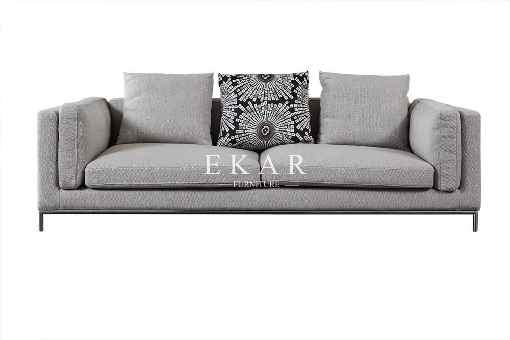 New Modern Design Grey Linen Fabric Soft Feather Furniture Living Room Sofa Set 1
