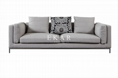 New Modern Design Grey Linen Fabric Soft Feather Furniture Living Room Sofa Set