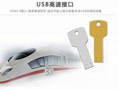 金屬鑰匙u盤4g 8g 不鏽鋼鑰匙禮品U盤定製LOGO
