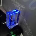 透明發光水晶U盤 高檔3d內雕logo水晶優盤 工廠定製LED燈紅藍綠白 3