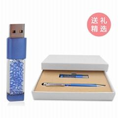 水晶U盤+水晶筆套裝商務禮品兩件套可定製LOGO廠家直銷 可單賣U盤