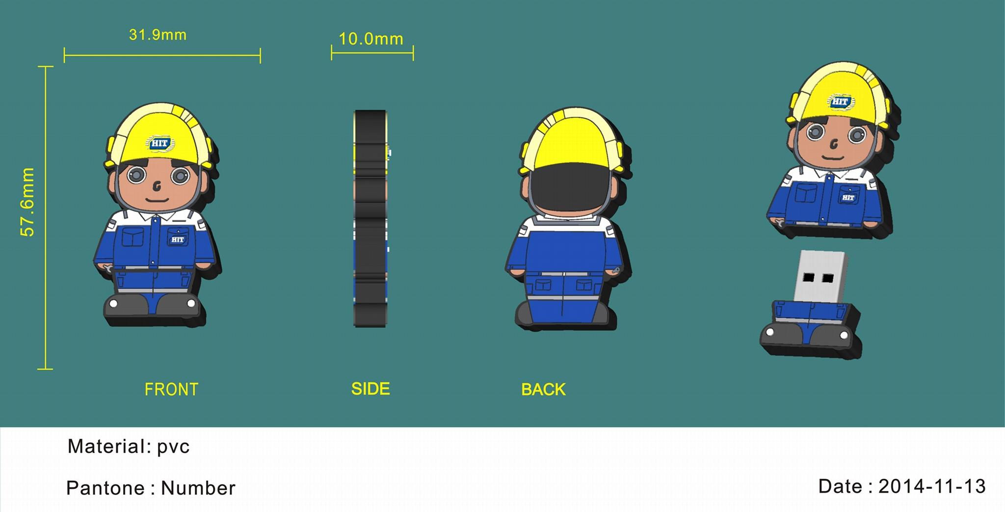 PVC軟膠開模u盤 卡通公仔優盤 禮品U盤3D定製logo USB隨身碟定製 3