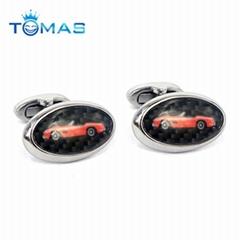 Oval shape metal cufflinks with car pattern