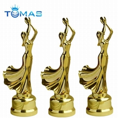Hot design various color plated available custom metal dancing trophy
