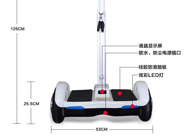 爱路卡登手扶平衡车可调节支杆两轮代步车自平衡 3