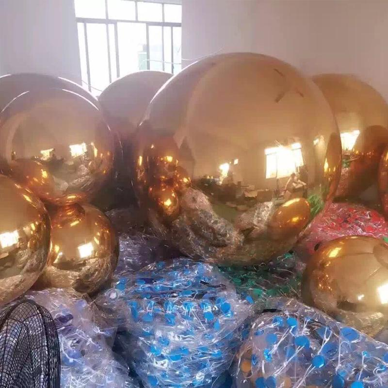 large hanging pvc gold inflatable mirror ball balloon 1