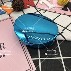 粉餅盒XT8271 腮紅盒 橢圓形 帶鏡子 噴鍍噴漆 兩層可置粉撲