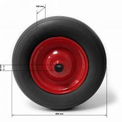 Polyurethane Flat Free PU Foam Wheel 4.00-8