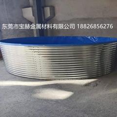 直径5.3米1.15米高养殖鱼池镀锌波纹板支架帆布