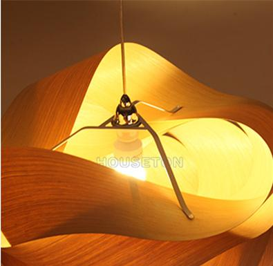 Hot design home decoration large luxury handmade wood pendant light 4