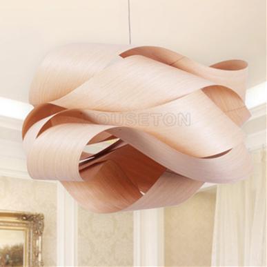 Hot design home decoration large luxury handmade wood pendant light 5